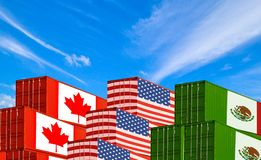 Concept USMCA of de nieuwe NAFTA Verenigde Staten Mexico Canada overeenkomst, handelsovereenkomst en economisch stock afbeelding