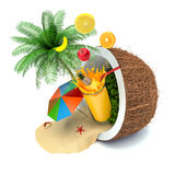 The concept of vacation. Coconut, beach umbrella and fruit juice.  Royalty Free Stock Photography