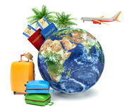 The concept of vacation and travel. Earth Globe with Airline. Boarding Pass Tickets, Luggage and Airplane Stock Image