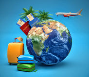 The concept of vacation and travel. Earth Globe with Airline. Boarding Pass Tickets, Luggage and Airplane Stock Photo
