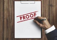 Concept valide d'authentification de vérité de confirmation de preuve photos libres de droits