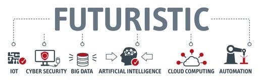 Concept van de banner het futuristische vectorillustratie stock illustratie