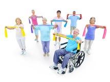 Concept van de de Geschiktheidsgezondheidszorg van groeps het Gezonde Mensen Stock Foto's