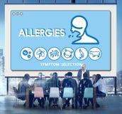 Concept van de de Gezondheidszorgbesmetting van de allergie het Overgevoelige Gevoeligheid stock foto's