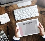 Concept van de de Kalender Wekelijkse Datum van september het Maandelijkse Stock Foto's