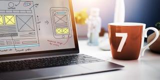 Concept van de de Technologieinhoud van het Webontwerp het Online stock foto