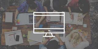 Concept van de de Technologieverbinding van de computerdesktop het Elektronische Stock Afbeelding