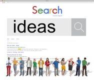 Concept van de de Technologieverbinding van onderzoeksideeën het Creatieve stock afbeelding