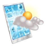 Concept van de de telefoontoepassing van het weer het mobiele Stock Foto's