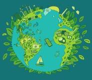 Concept van de Eco het Vriendschappelijke, Groene Energie, Vlakke Vector Stock Foto's