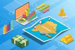 Concept van de de economievoorwaarde van Botswana beschrijft het isometrische financiële voor de groei van het land uitbreidt zic stock illustratie