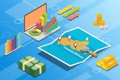 Concept van de de economievoorwaarde van de Centraalafrikaanse Republiek beschrijft het isometrische financiële voor de groei van vector illustratie