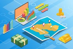 Concept van de de economievoorwaarde van Djibouti beschrijft het isometrische financiële voor de groei van het land uitbreidt zic royalty-vrije illustratie