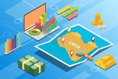 Concept van de de economievoorwaarde van Libië beschrijft het isometrische financiële voor de groei van het land uitbreidt zich - stock illustratie