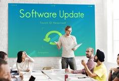 Concept van de het Apparatenvertoning van de softwareupdate het Elektronische stock afbeeldingen
