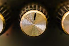 Concept van de het close-up het macrocontrole van de versterkerknop Royalty-vrije Stock Fotografie