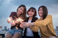 Concept van de het jaarpartij van de de jeugdvriendschap het nieuwe Groep vrienden die hebben Stock Foto's