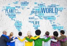 Concept van de het Levensplaneet van de wereldglobalisering het Internationale Royalty-vrije Stock Afbeeldingen
