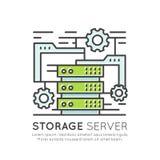 Concept van de het Netwerksoftware en Hardware van de Opslagserver Rek Stock Foto