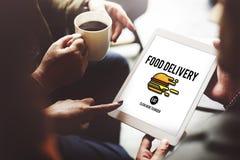 Concept van de het Snelle Voedsel het Ongezonde Zwaarlijvigheid van de voedsellevering Royalty-vrije Stock Fotografie