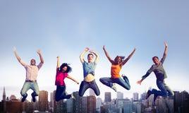 Concept van de het Succesviering van het mensengeluk het Vrolijke Royalty-vrije Stock Foto