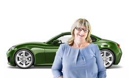 Concept van de het Vervoers 3D Illustratie van het autovoertuig Royalty-vrije Stock Foto's