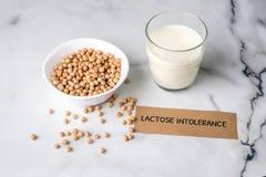 Concept van de lactose het vrije melk Eigengemaakte melk van noten en stuk van document met de ONVERDRAAGZAAMHEID van de tekstlac royalty-vrije stock foto's