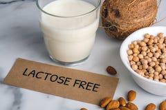 Concept van de lactose het vrije melk Eigengemaakte melk van noten en stuk van document met tekstlactose VRIJ op marmeren achterg royalty-vrije stock foto