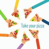 Concept van de pizza het vlakke hand Royalty-vrije Stock Foto's