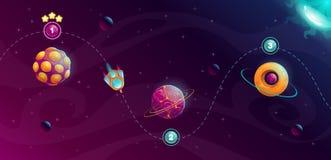 Concept van de raket het ruimtereis Het ontwerp van het melkwegspel royalty-vrije illustratie