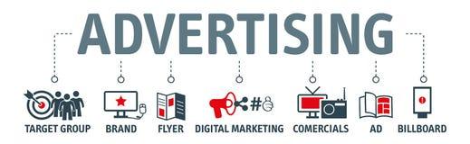 Concept van de reclame het vectorillustratie met pictogrammen stock illustratie