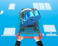 Concept van de wolken het verbindende veiligheid, slot op boodschappenwagentje met Dr. Royalty-vrije Stock Foto
