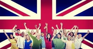 Concept van Hapiness van diversiteits het Britse Communautaire Mensen Stock Afbeeldingen