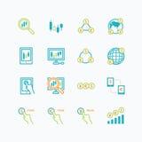 Concept van het bedrijfsfinanciën het online handeloverzicht forex vector Stock Foto's