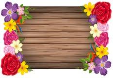 Concept van het bloemen het houten kader vector illustratie