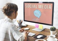 Concept van het blog het Online Sociale Netwerk Royalty-vrije Stock Fotografie