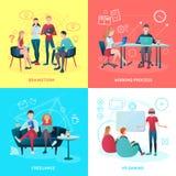 Concept van het Coworkings het Vlakke Ontwerp vector illustratie