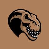 Concept van het de club vectordieembleem van de dinosaurus het hoofdsport op bruine achtergrond wordt geïsoleerd stock illustratie