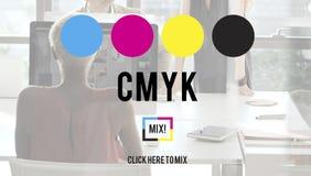 Concept van het de Kleurendrukproces van CMYK het Cyaan Magenta Gele Zeer belangrijke royalty-vrije stock afbeeldingen