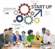 Concept van het de Strategiegroepswerk van het start het Nieuwe Businessplan Royalty-vrije Stock Afbeeldingen