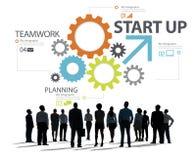 Concept van het de Strategiegroepswerk van het start het Nieuwe Businessplan Royalty-vrije Stock Fotografie