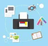 concept van het druk het vector in ontwerp, moderne vlakte Royalty-vrije Stock Afbeeldingen