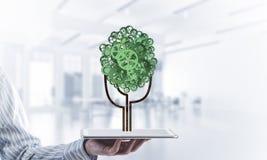 Concept van het Eco het groene die milieu door boom als het werk mecha wordt voorgesteld Stock Foto's