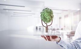 Concept van het Eco het groene die milieu door boom als het werk mecha wordt voorgesteld Royalty-vrije Stock Foto