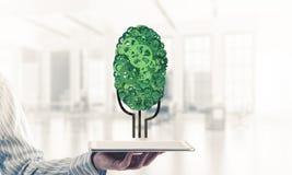 Concept van het Eco het groene die milieu door boom als het werk mecha wordt voorgesteld Stock Afbeeldingen