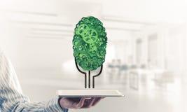 Concept van het Eco het groene die milieu door boom als het werk mecha wordt voorgesteld Royalty-vrije Stock Fotografie