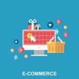 Concept van het elektronische handel het vlakke ontwerp Stock Afbeeldingen