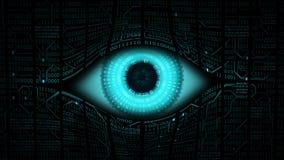 Concept van het grote broer het elektronische oog, technologieën voor het globale toezicht, veiligheid van computersystemen en ne Stock Afbeelding