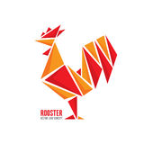 Concept van het haan het vectorembleem De abstracte geometrische illustratie van de vogelhaan Haanembleem Vectorembleemmalplaatje Royalty-vrije Stock Foto's