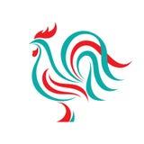 Concept van het haan het vectorembleem in lijnstijl De abstracte illustratie van de vogelhaan Haanembleem Vectorembleemmalplaatje Stock Foto's